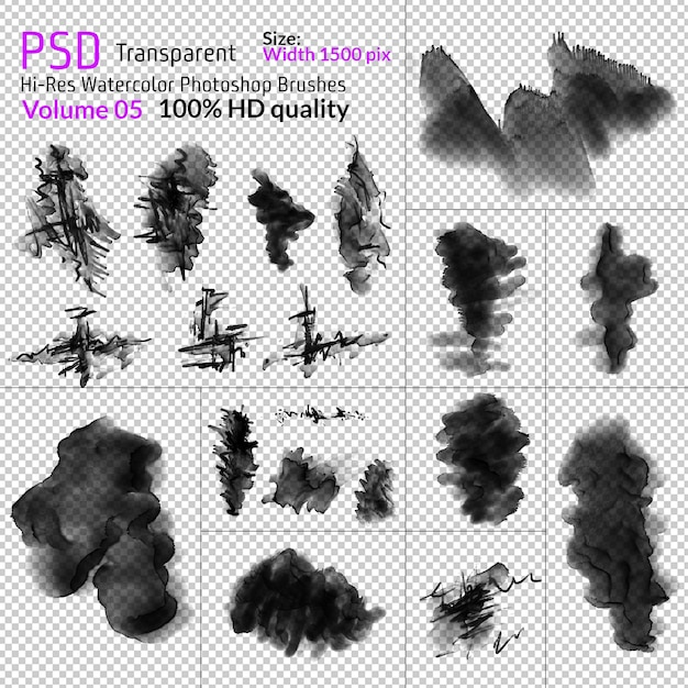 Png aquarell photoshop-pinsel Premium PSD