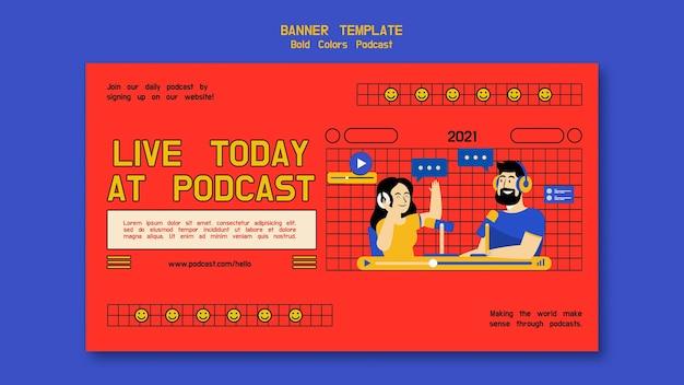 Podcast horizontale bannervorlage mit abbildungen Kostenlosen PSD