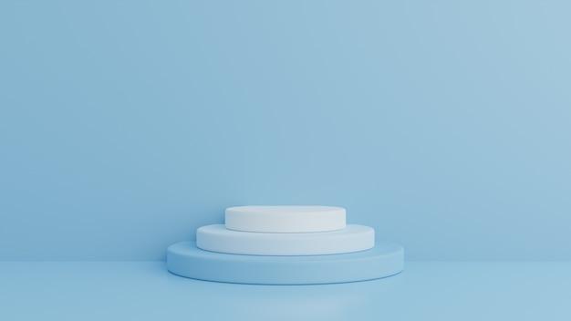 Podium in abstrakter blauer komposition, 3d-rendering, 3d-illustration Premium PSD