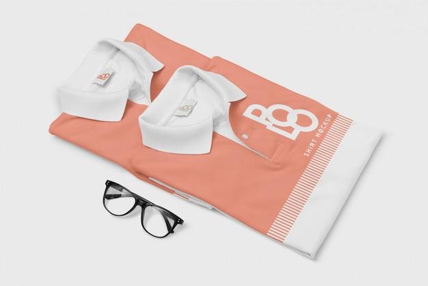 Polo t-shirt und brille mockup Premium PSD