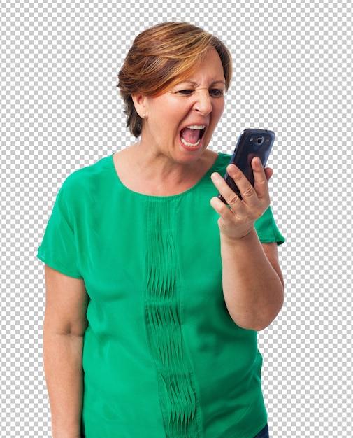 Porträt der verärgerten reifen frau, die am telefon spricht Premium PSD