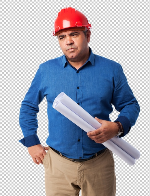 Porträt eines architekten, der an sein projekt denkt Premium PSD