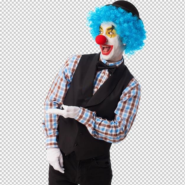 Portrait eines lustigen clowns über weiß Premium PSD