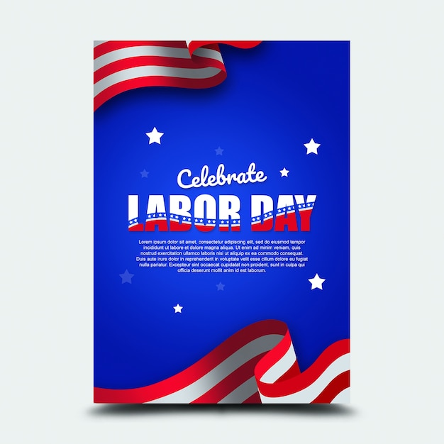 Poster 3. september internationaler tag der arbeit usa Premium PSD