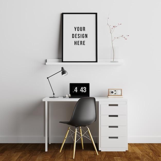 Poster frame mockup interieur arbeitsbereich mit dekorationen Premium PSD