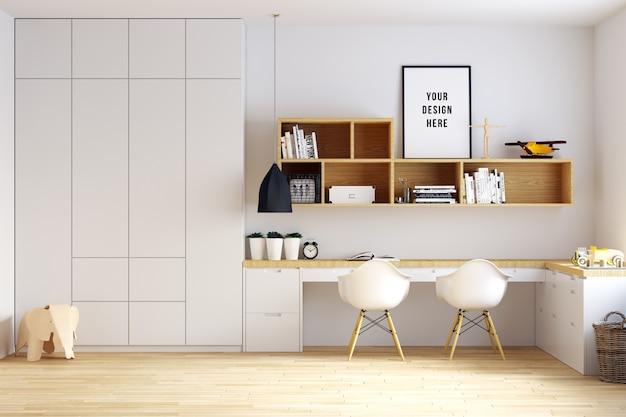 Poster frame mockup interior kinderzimmer mit dekorationen Premium PSD