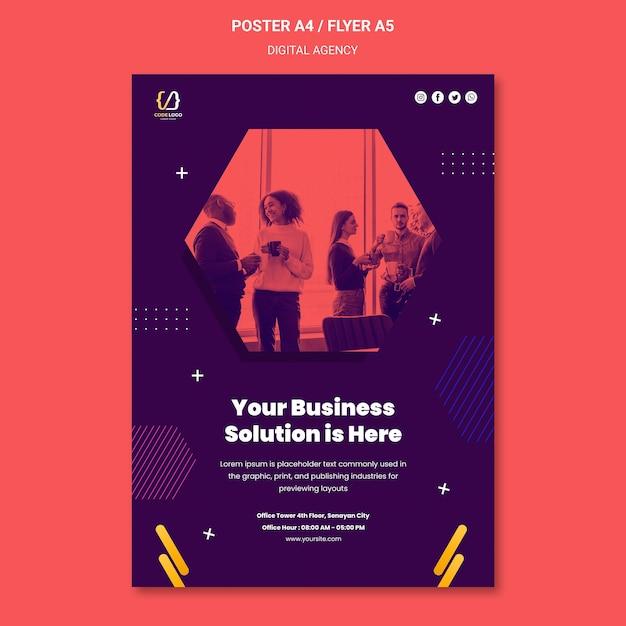 Poster für digitale agenturlösungen Kostenlosen PSD