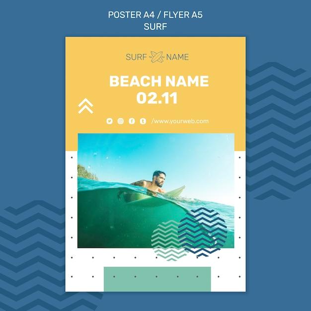 Poster surfing anzeigenvorlage Kostenlosen PSD