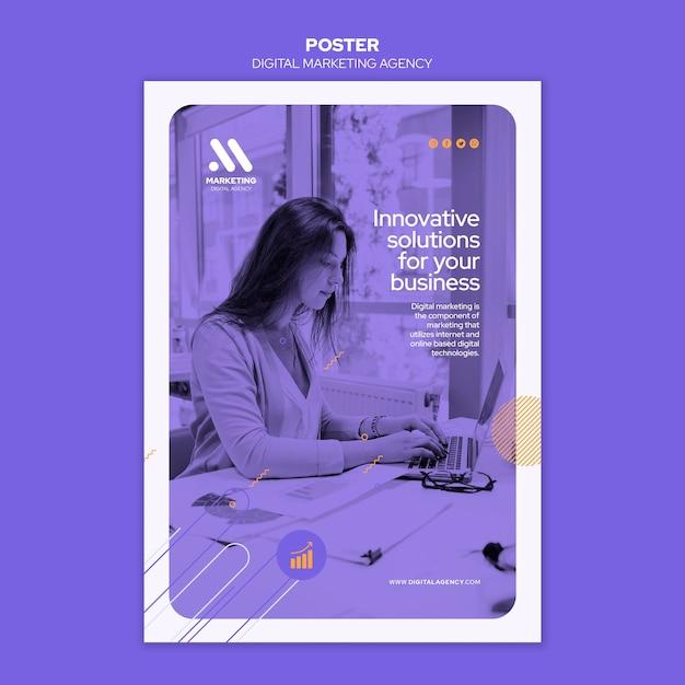 Postervorlage der agentur für digitales marketing Kostenlosen PSD