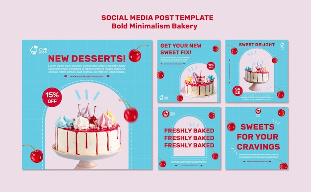 Postvorlage für soziale medien in der bäckerei Kostenlosen PSD