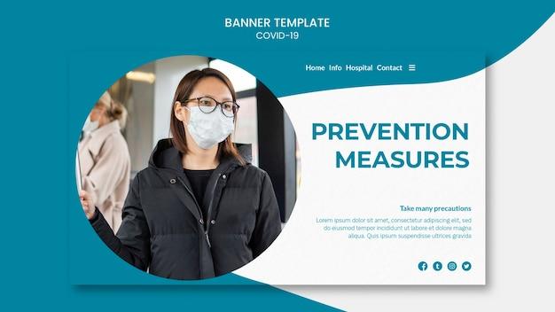 Präventionsmaßnahmen und maske covid-19 banner Kostenlosen PSD