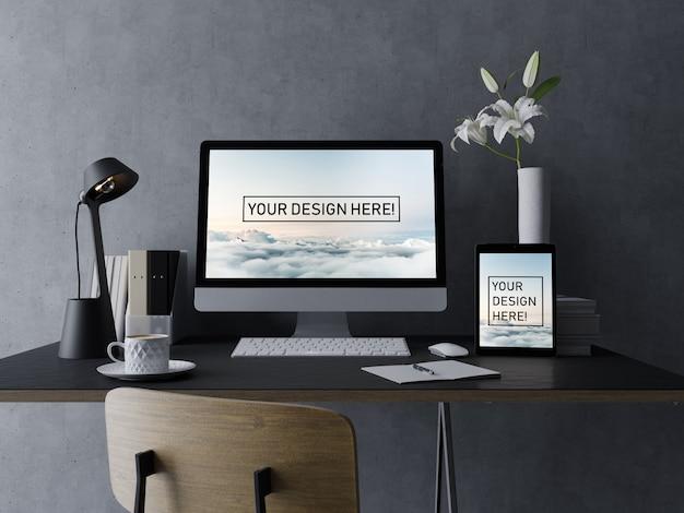 Premium-desktop- und tablet-mock-ups-design-vorlage mit bearbeitbarer anzeige im eleganten innenraum-arbeitsplatz Premium PSD