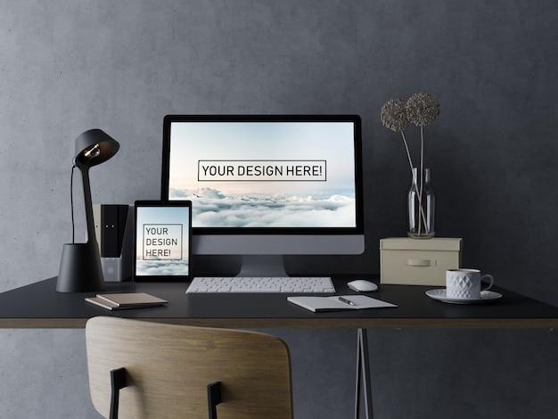 Premium-pc-computer und pad mock up design-vorlage mit bearbeitbaren bildschirm im modernen schwarzen arbeitsbereich Premium PSD