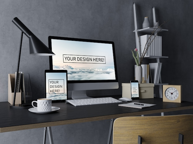 Premium set desktop-, tablet- und smartphone-mock-ups-design-vorlage mit bearbeitbarem bildschirm im eleganten schwarzen interieur Premium PSD