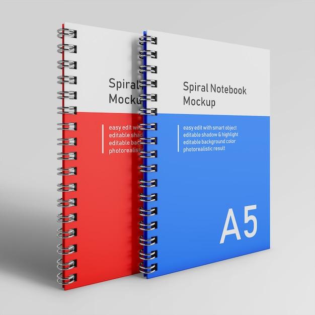 Premium zwei bussiness hardcover spiral binder notepad mockup design-vorlagen in front perspective view Premium PSD