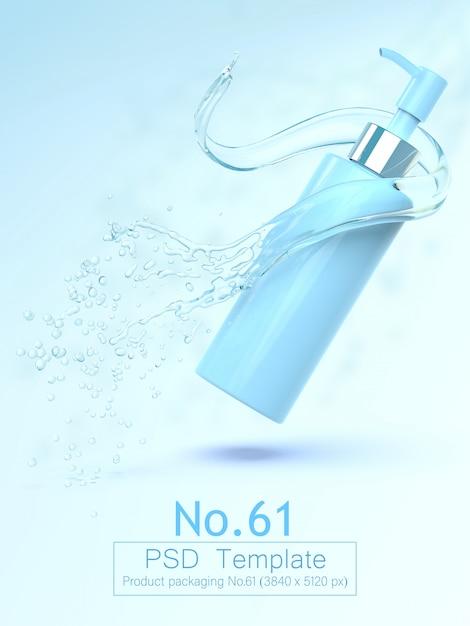 Produkt- und wasserspritzenhintergrundschablone 3d übertragen Premium PSD