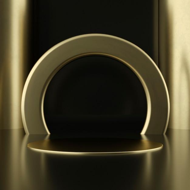 Produktpodest aus sauberem weißgold, goldrahmen, gedenktafel, abstraktes minimalkonzept, leerzeichen, sauberes design, luxus. 3d-rendering Premium PSD