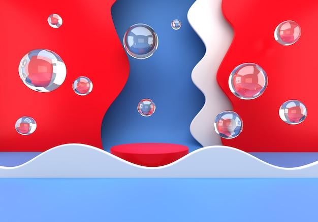 Produktpodest für die vermarktung der präsentationsphase mit seifenblasen Premium PSD
