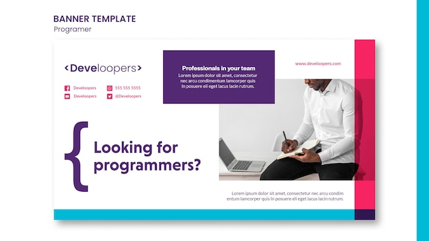Programmierer-werbebanner-vorlage Kostenlosen PSD