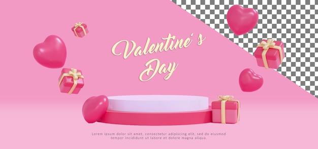 Psd happy valentine podium mit 3d-rendering Premium PSD