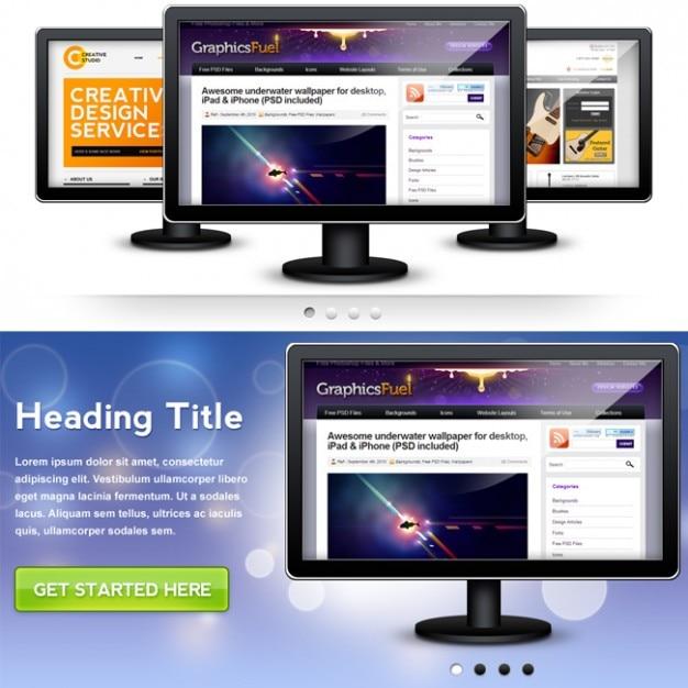 Psd-monitor-grafik für ihre website-header slideshow Kostenlosen PSD