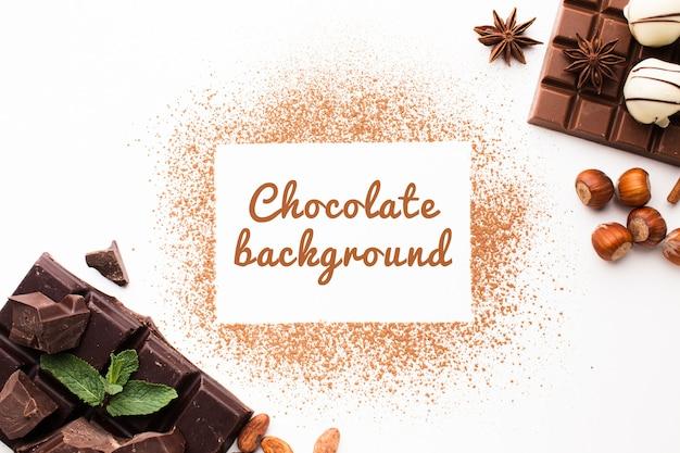 Pulver-hintergrundmodell der süßen schokolade der draufsicht Kostenlosen PSD
