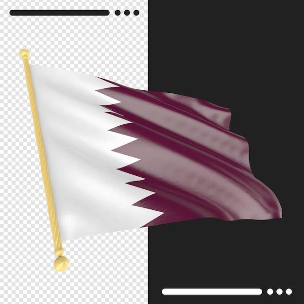 Qatar flag3d rendering isoliert Premium PSD