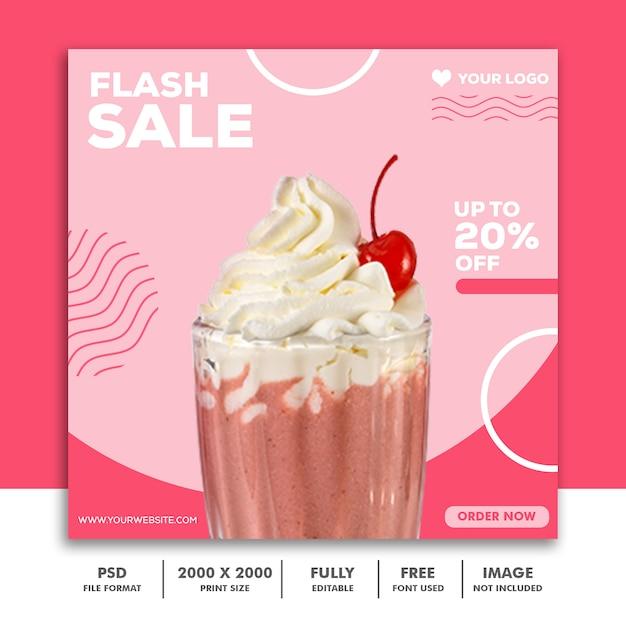 Quadratische banner vorlage für instagram, feed milkshake strawberry pink Premium PSD
