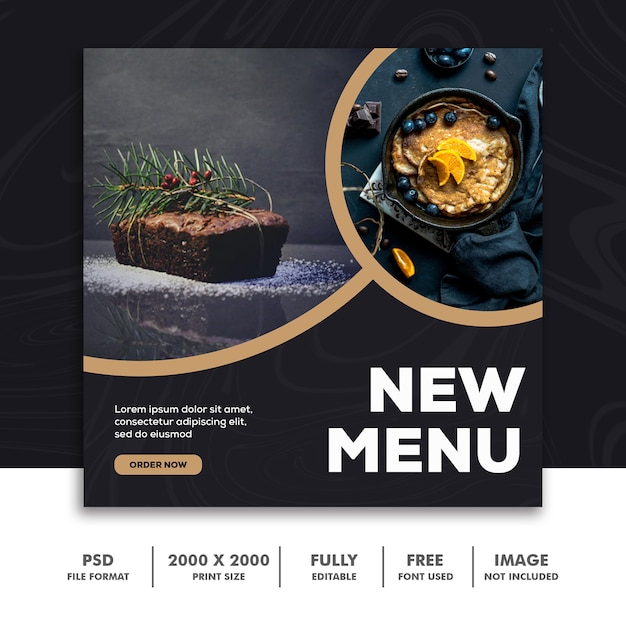 Quadratische fahne für instagram, restaurant-lebensmittel-luxuskuchen Premium PSD