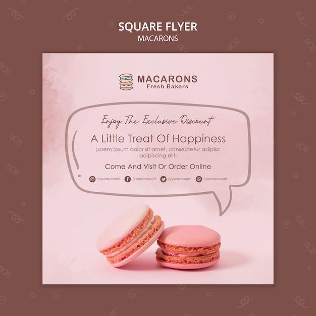 Quadratische flyer-vorlage des macarons-konzepts Kostenlosen PSD