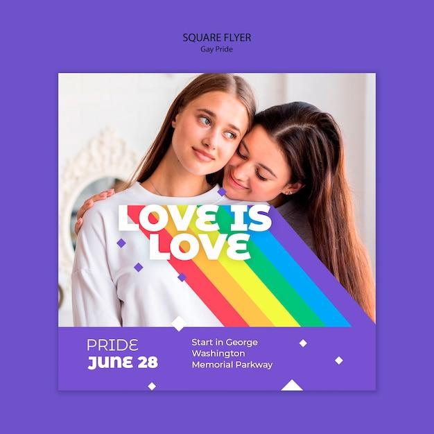 Quadratische flyer-vorlage des schwulen prinde-konzepts Kostenlosen PSD
