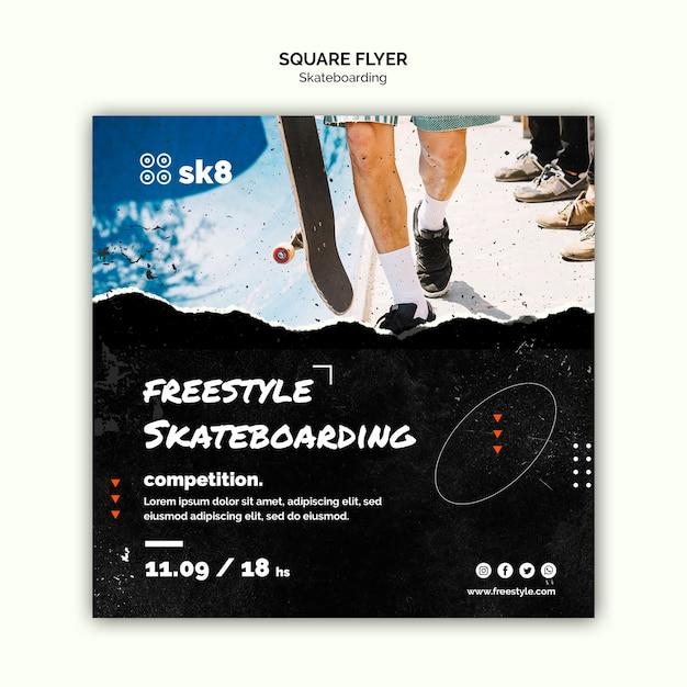Quadratische flyer-vorlage des skateboard-konzepts Kostenlosen PSD