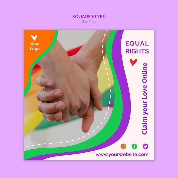 Quadratische flyer-vorlage für gleiche rechte Kostenlosen PSD