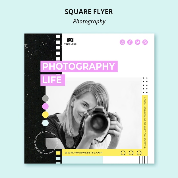 Quadratische flyer-vorlage für kreative fotografie Premium PSD