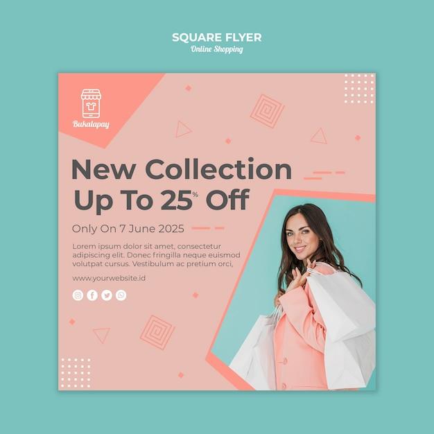 Quadratische flyer-vorlage für online-shopping mit verkauf Kostenlosen PSD