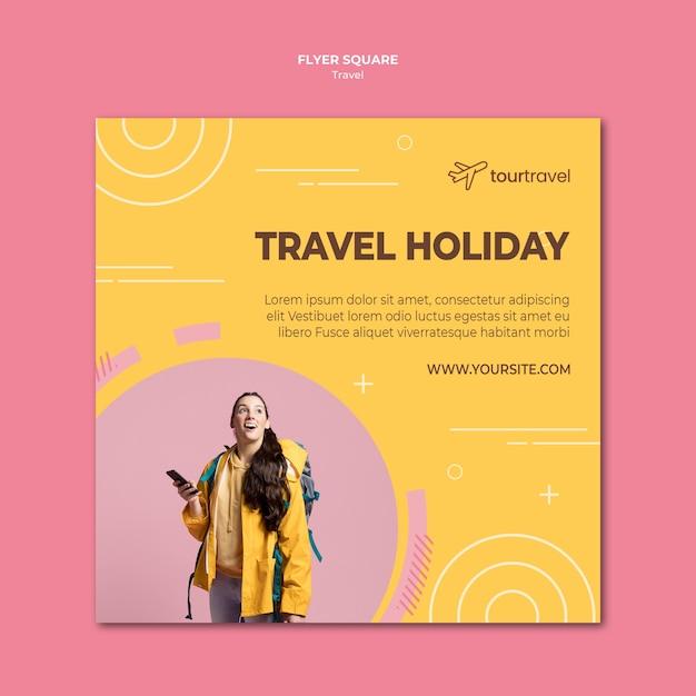 Quadratische flyer-vorlage für reiseurlaub Kostenlosen PSD