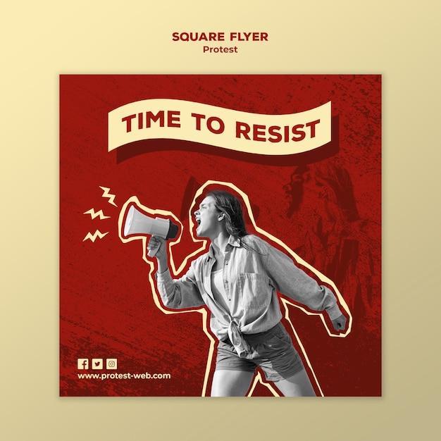 Quadratische flyer-vorlage mit protest für menschenrechte Kostenlosen PSD
