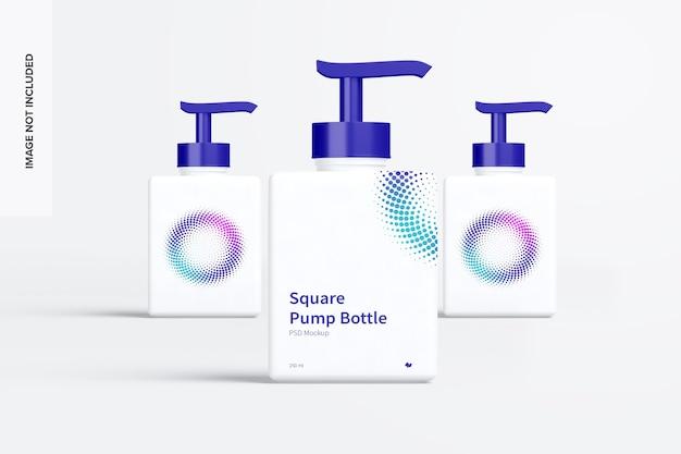 Quadratische pumpflaschen modell vorderansicht Premium PSD