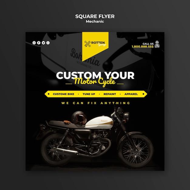 Quadratischer flyer für die motorradwerkstatt Kostenlosen PSD