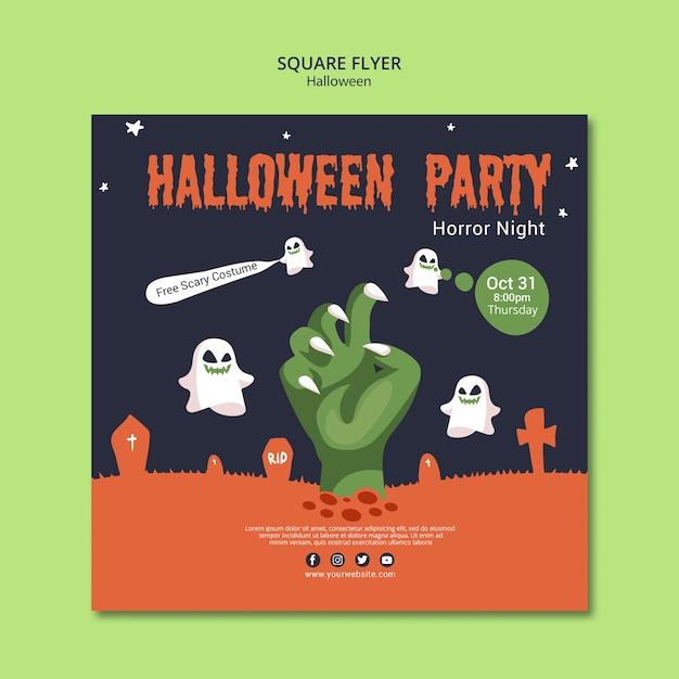 Quadratischer flyer für halloween-party Kostenlosen PSD