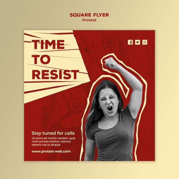 Quadratischer flyer mit protest für menschenrechte Kostenlosen PSD