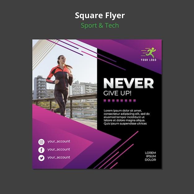 Quadratisches flyer-modell des sport & tech-konzepts Kostenlosen PSD