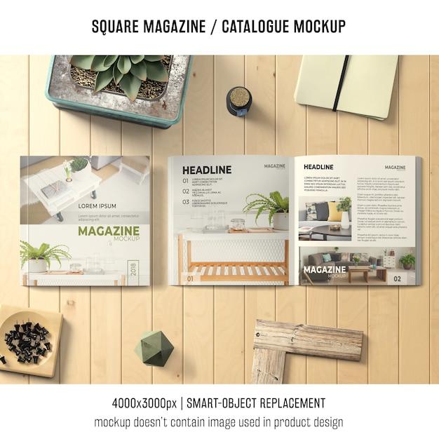 Quadratisches magazin oder katalogmodell mit verschiedenen objekten Kostenlosen PSD