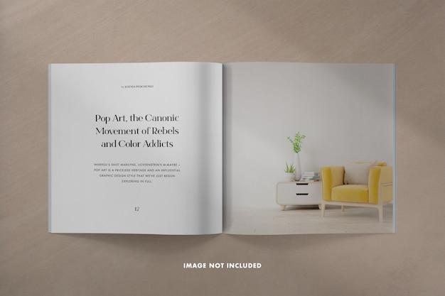 Quadratisches magazinmodell mit schattenüberlagerung Premium PSD