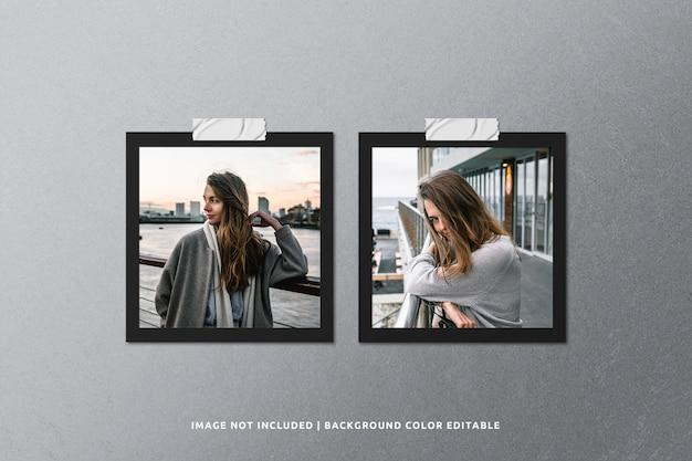 Quadratisches schwarzes papier-fotorahmen-modell Premium PSD