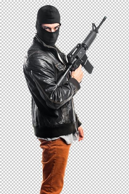 Räuber, der ein gewehr hält Premium PSD