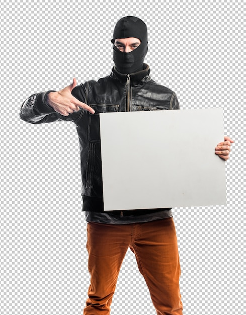 Räuber, der ein leeres plakat hält Premium PSD