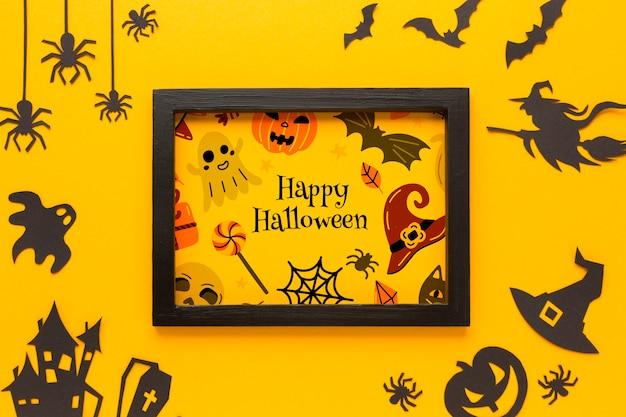 Rahmen mit halloween-zeichnung Kostenlosen PSD