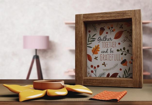 Rahmen mit happy thanksgiving day nachricht Kostenlosen PSD
