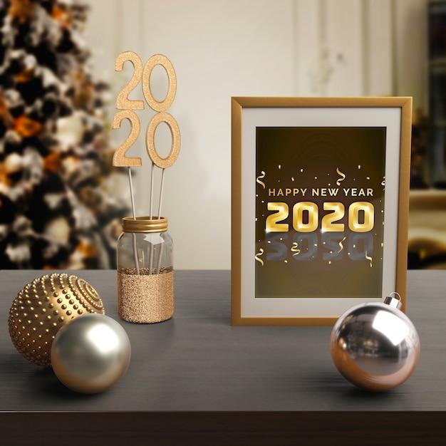 Rahmen mit neujahrs-nachricht und thema Kostenlosen PSD